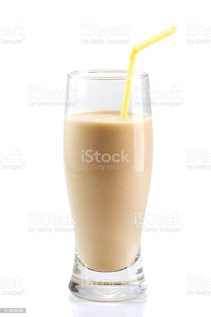 Milk protein cocktail with drinking straw on white stock photo