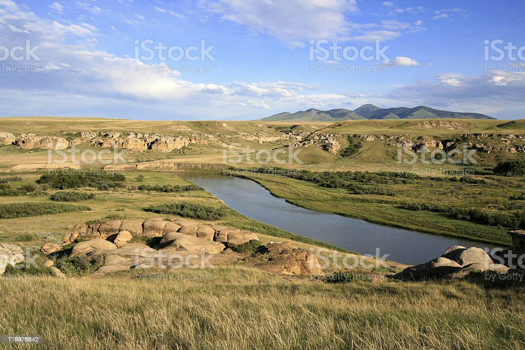 Milk River and Sweetgrass Hills stock photo