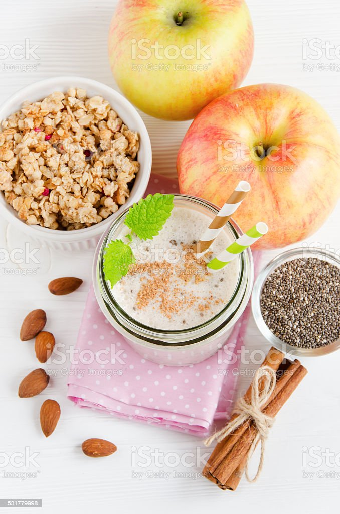 Milk smoothies in jar, top view stock photo