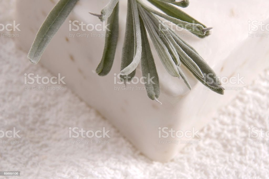 milk soap and fresh herbs royalty-free stock photo
