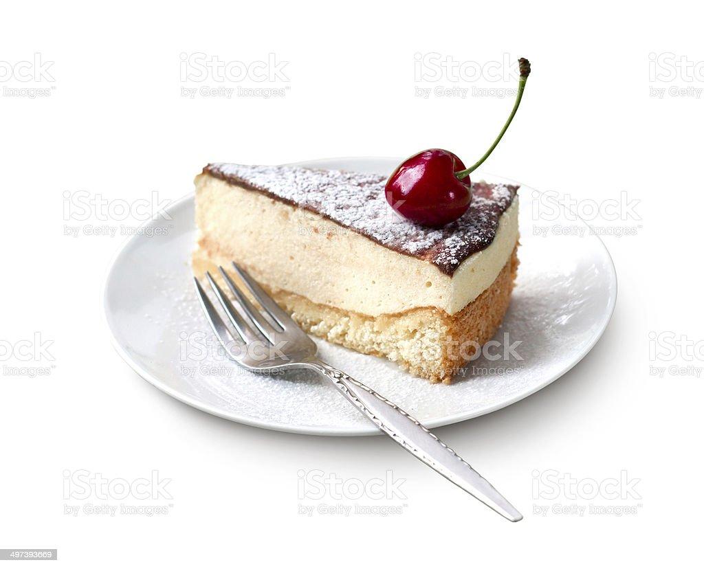 Milk souffle (bird's milk) cake stock photo