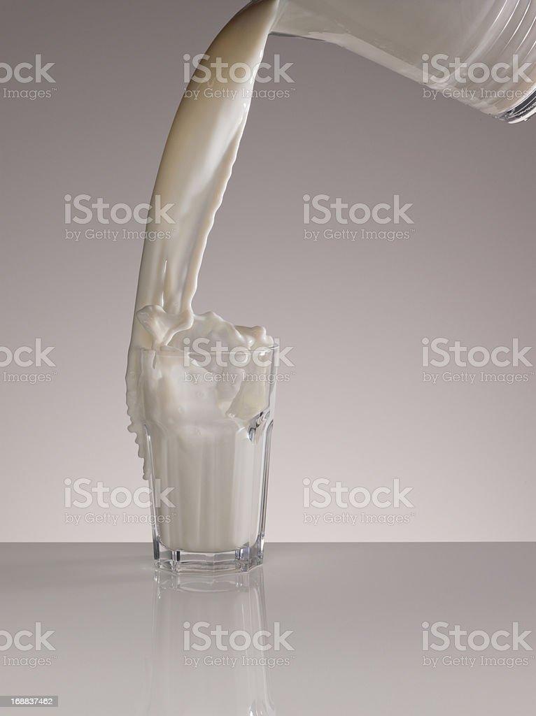 Milk splashing in full glass royalty-free stock photo