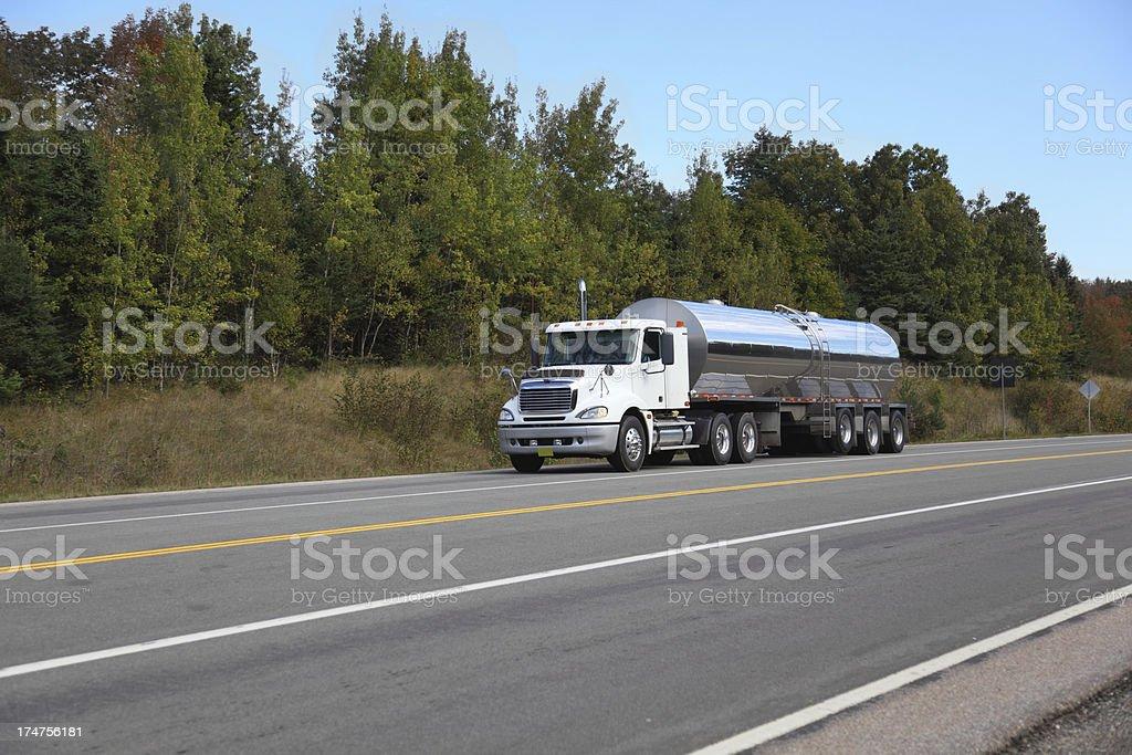 Milk tanker truck stock photo