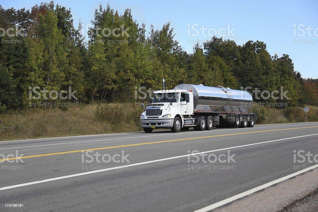 Milk tanker truck stock photo