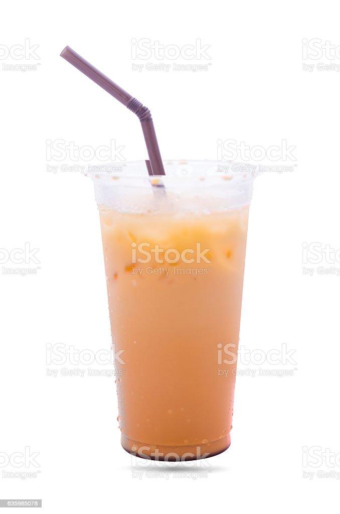 Milk tea in plastic grass isolate stock photo