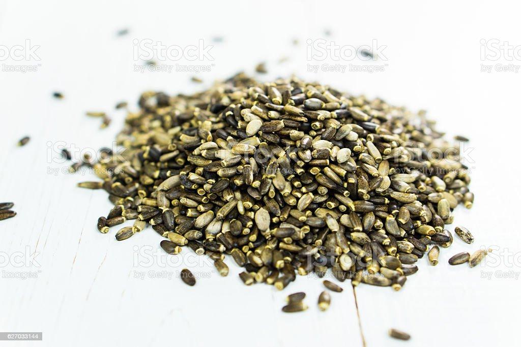Milk thistle seed stock photo