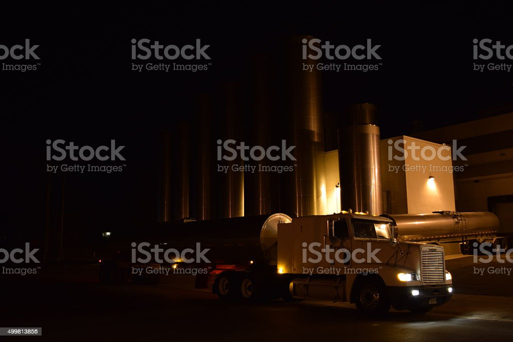 Milk Treatment Storage Plant With Tanker With Load Of Milk stock photo