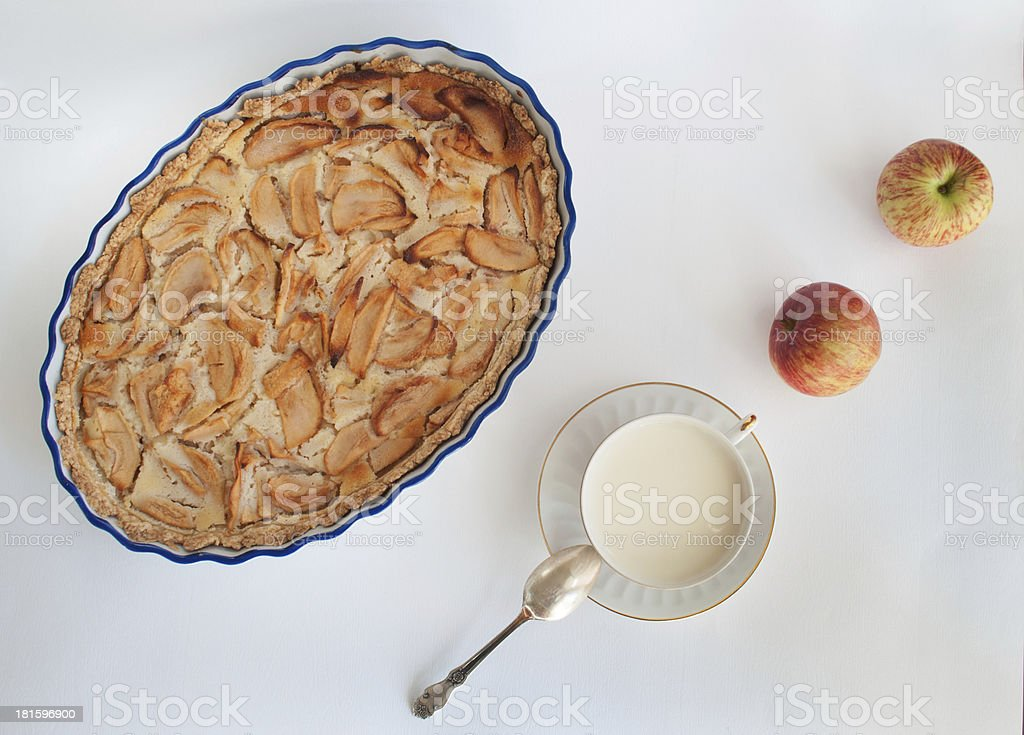 Milk with apples and apple pie royalty-free stock photo