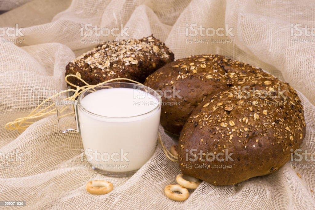 Milk with bread stock photo
