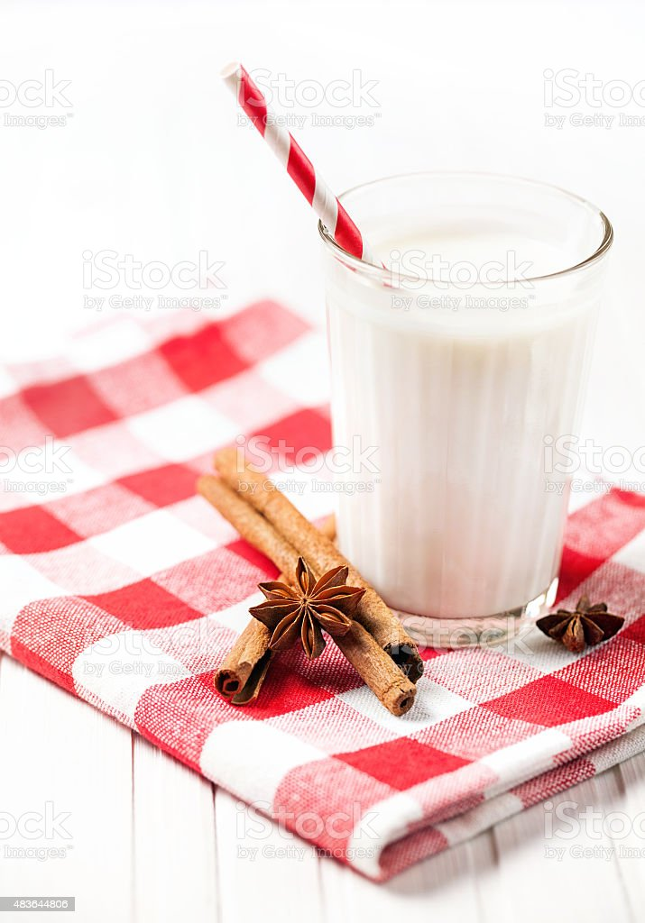 Milk with spices stock photo