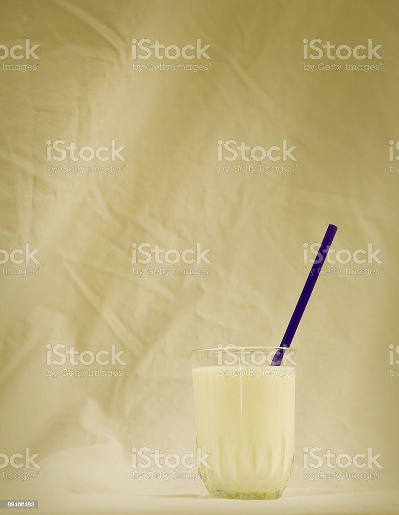 milk with straw stock photo