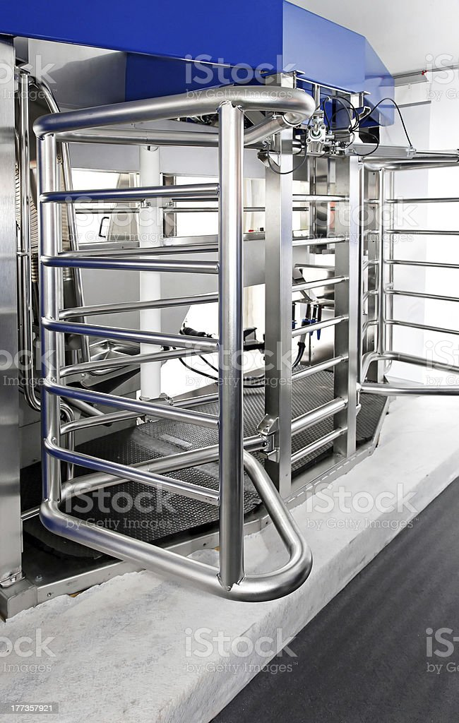 Milking station stock photo