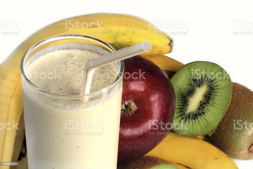 Milkshake and Fresh fruits royalty-free stock photo