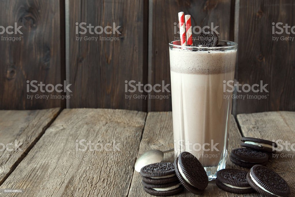 milkshake (chocolate smoothie) with cookies stock photo