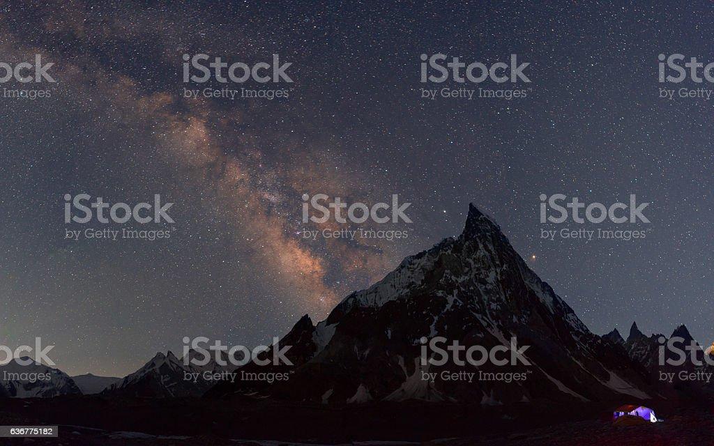 Milky over Mitre peak at Concordia camp, K2 trek, Pakistan stock photo