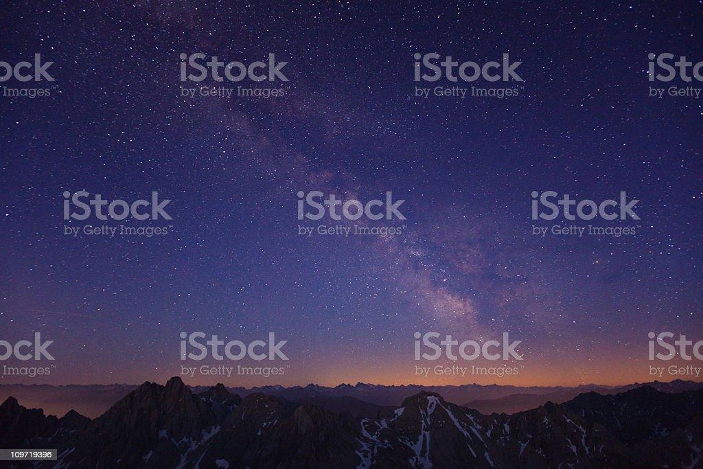 milky way above the lechtaler alps - tirol, austria stock photo