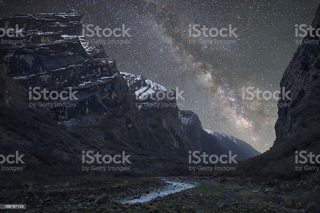 Milky Way above the mountains royalty-free stock photo