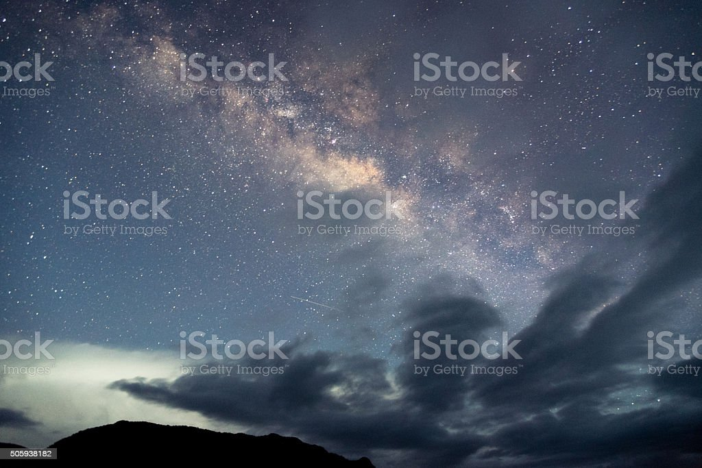 Milky way across the sky stock photo