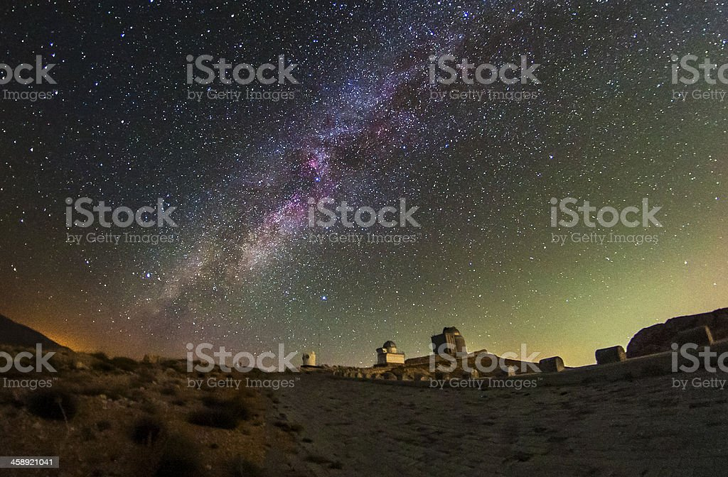 Milky way and Airglow stock photo