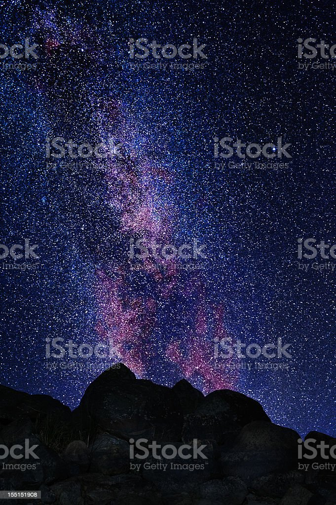 Milky way and big rocks in the foreground royalty-free stock photo