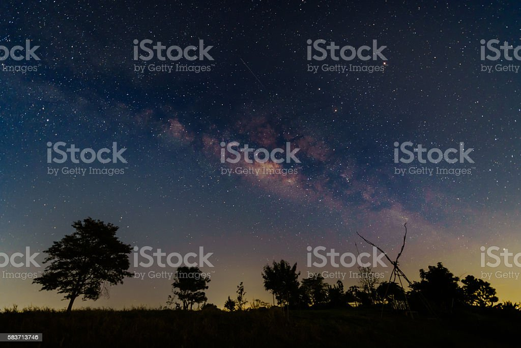 Milky way and comet on cleary sky. stock photo