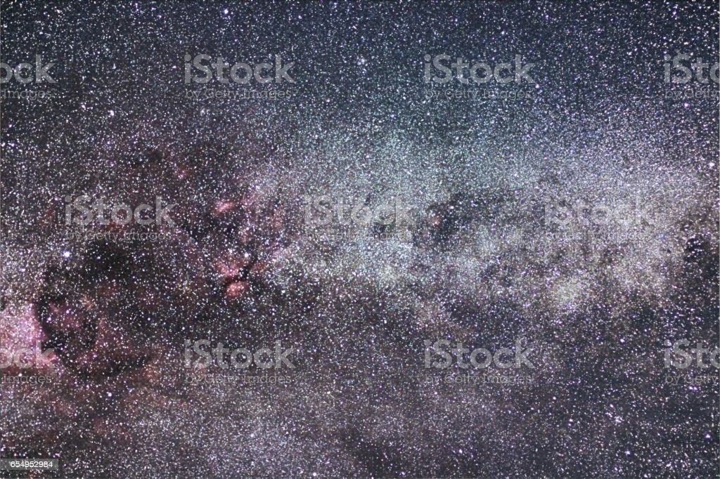 Milky Way and Cygnus constellation. Northern Cross. stock photo