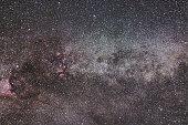 Milky Way and Cygnus constellation. Northern Cross. Starry night