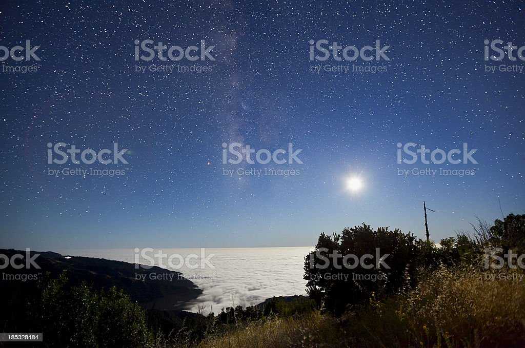Milky Way and Moon over Big Sur stock photo