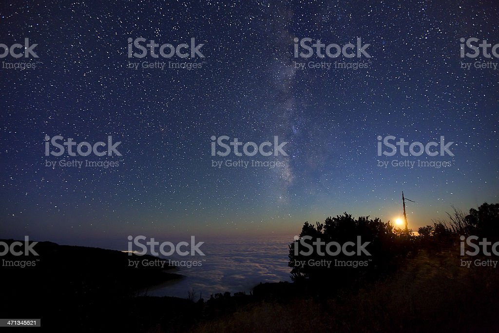 Milky Way and Moon over Big Sur royalty-free stock photo
