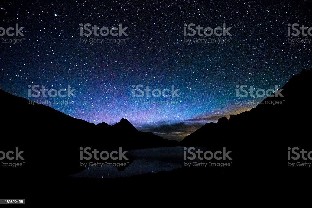 Milky Way and Rugged Mountain Peaks stock photo