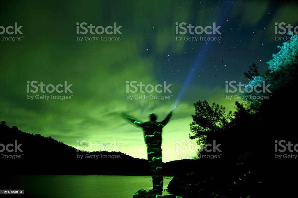 Milky way and the man stock photo