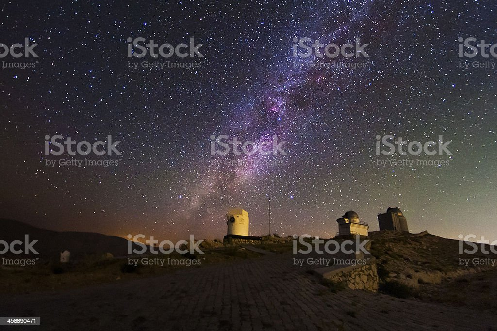 Milky way and the Observatory stock photo