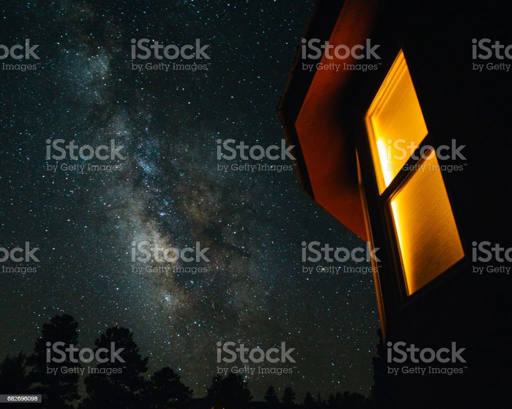 Milky Way and Window stock photo