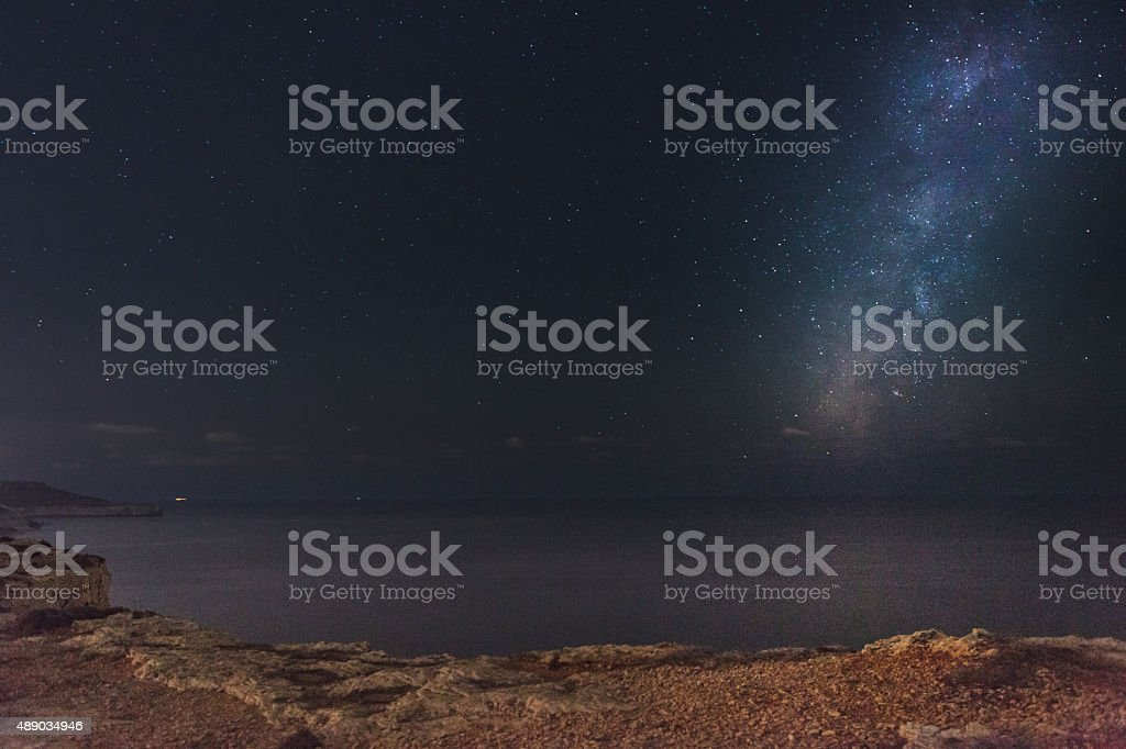 Milky Way at Majjistral Park stock photo