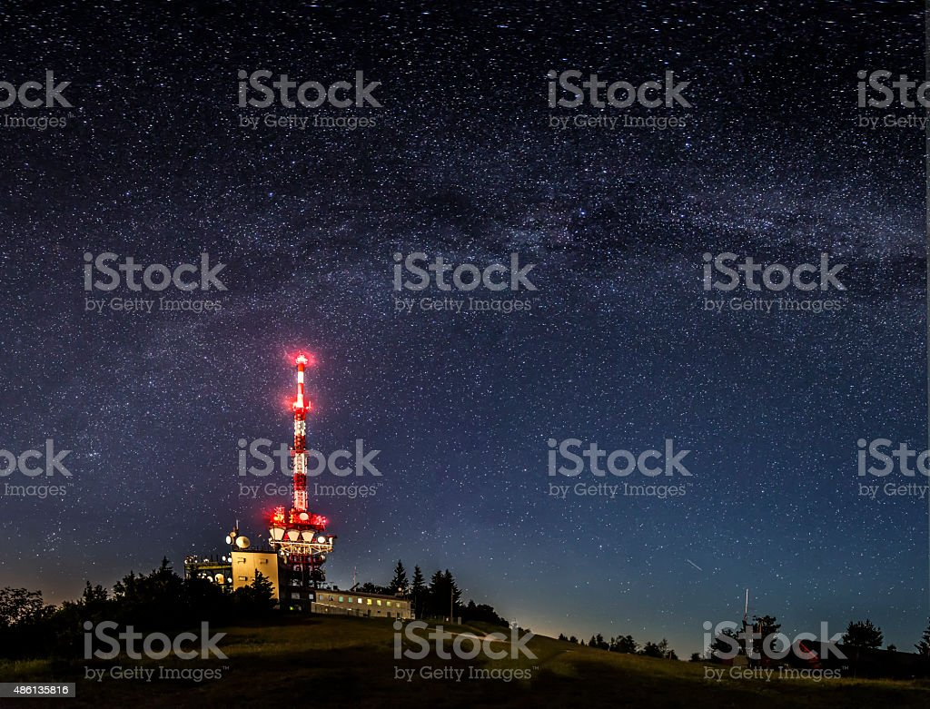 Milky Way at Mount Gaisberg in Salzburg stock photo