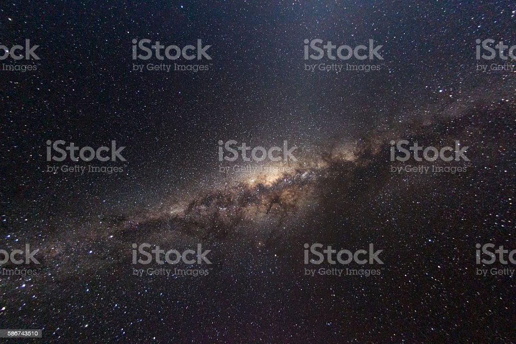 Milky way at night from the southern hemisphere stock photo