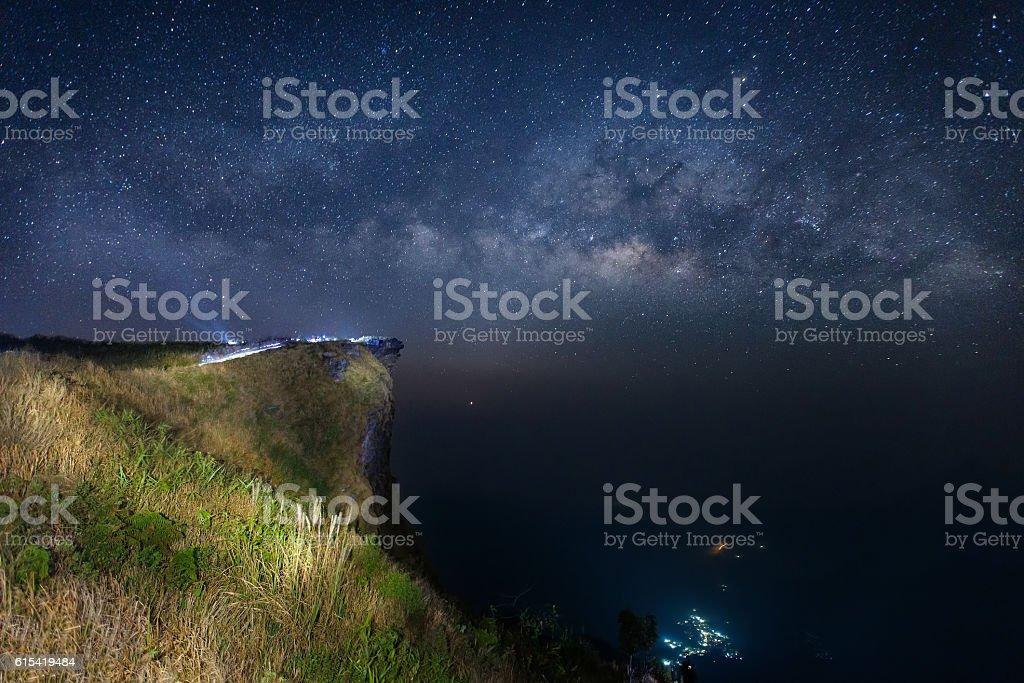 Milky way at Phu Chi Fah, Chiang Rai Province stock photo
