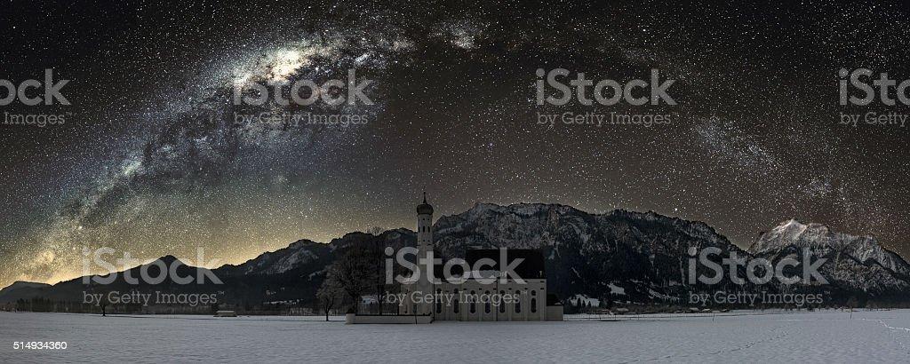 Milky Way  at St Coloman Church, Bavaria, Germany stock photo
