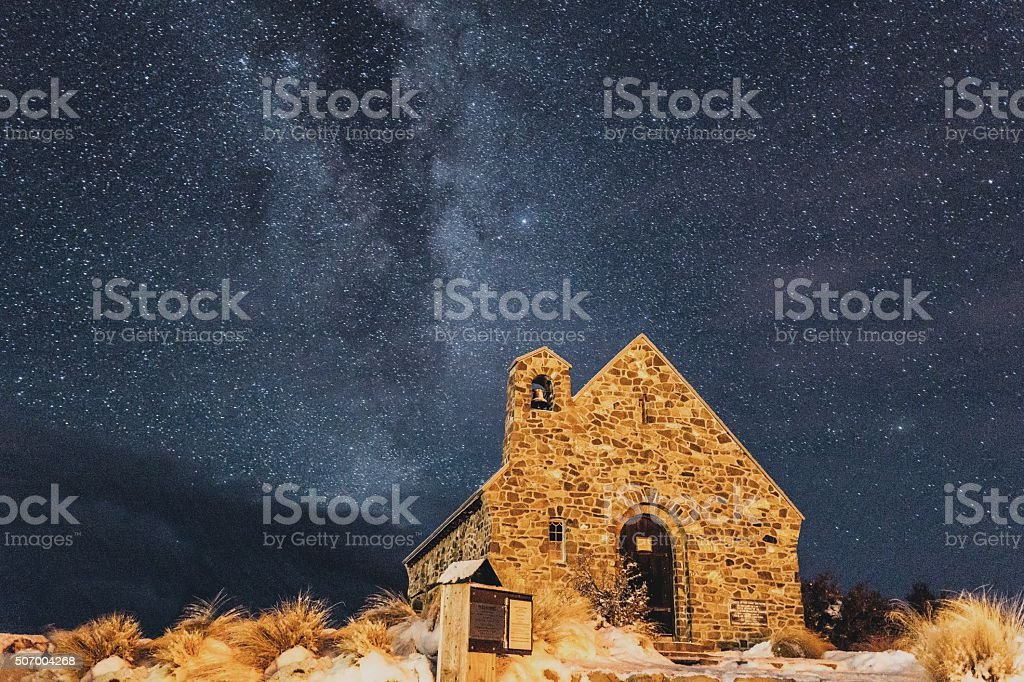 Milky way at the Church of the Good Shepherd. stock photo