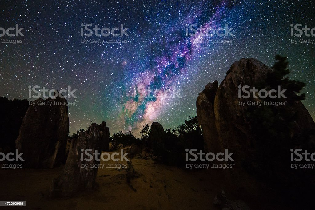Milky Way at the Pinnacles stock photo