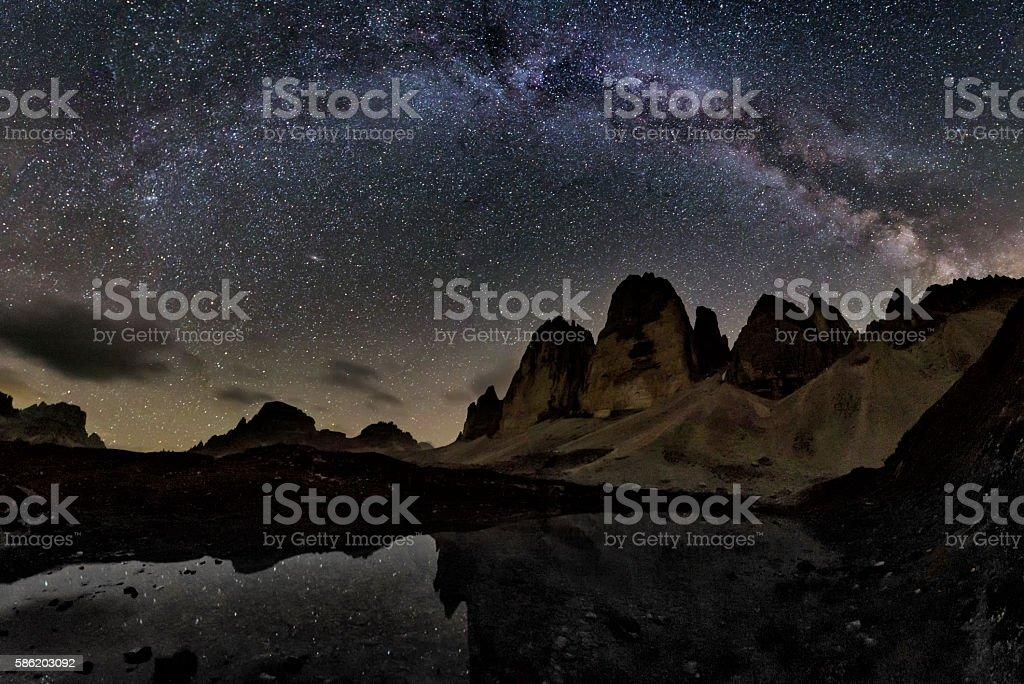 Milky Way at the three Pinnacles stock photo
