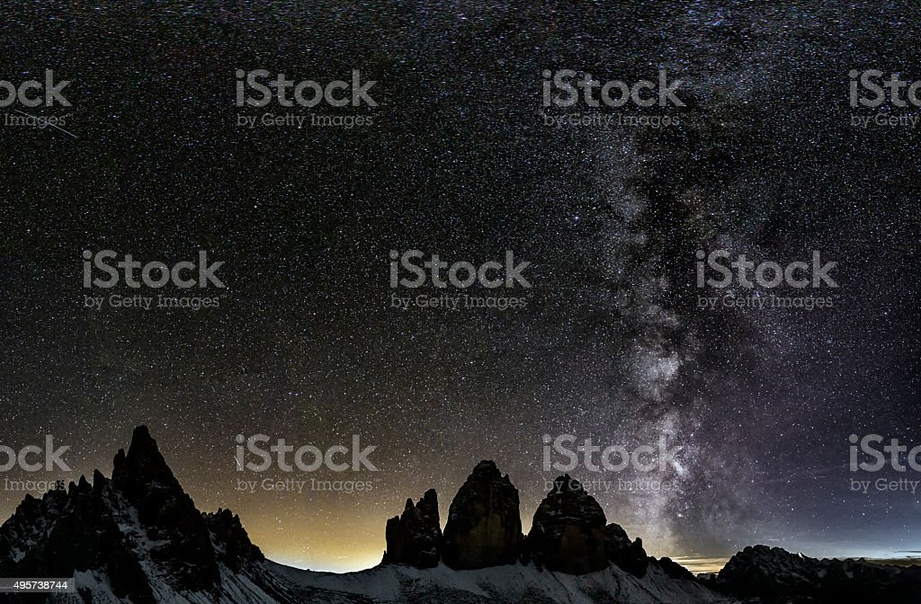 Milky  Way at Tre Cime of the Dolomites stock photo