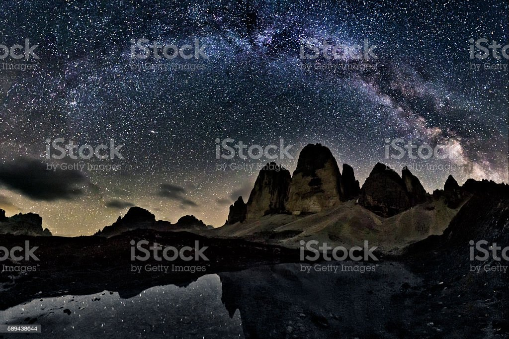 Milky Way  at tre Cime of the Dolomites (Drei Zinnen) stock photo