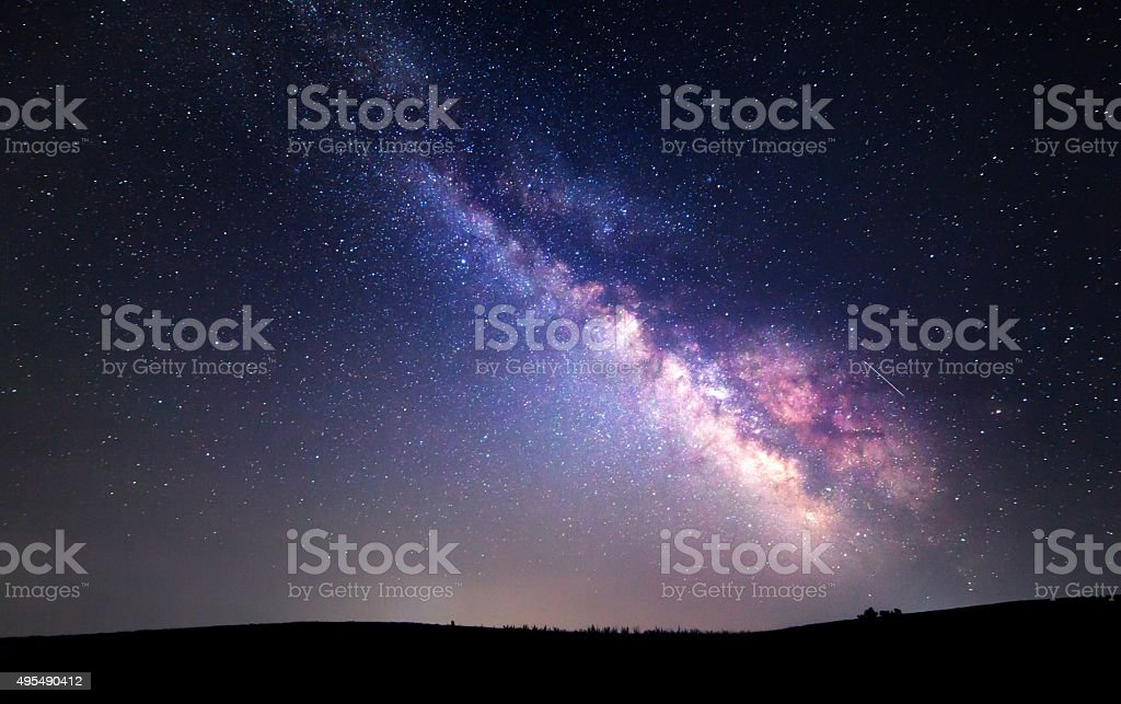 Milky Way. Beautiful summer night sky with stars. Background stock photo