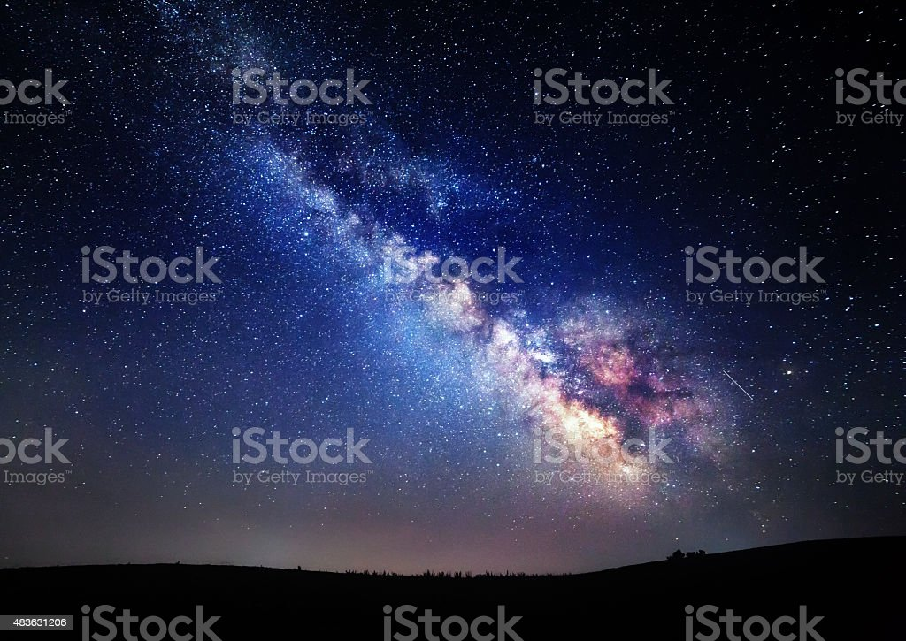 Milky Way. Beautiful summer night sky with stars in Crimea stock photo