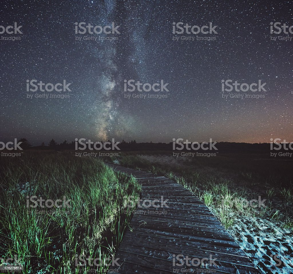 Milky Way Boardwalk stock photo