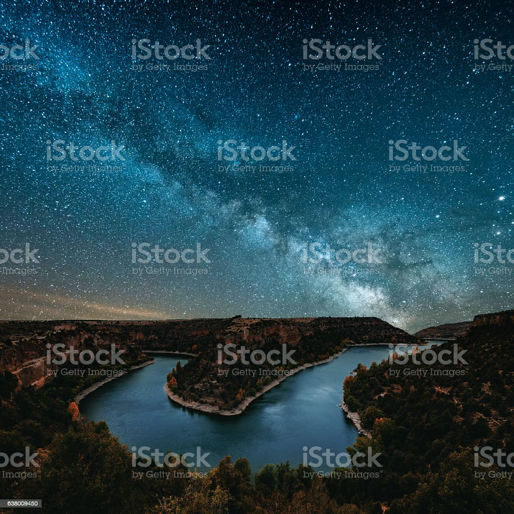 Milky way by the river stock photo
