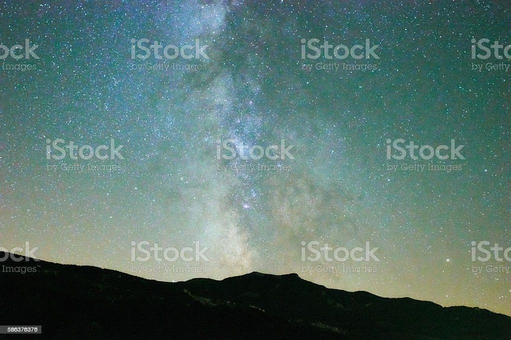 Milky way during summer in Catalonia's sky stock photo