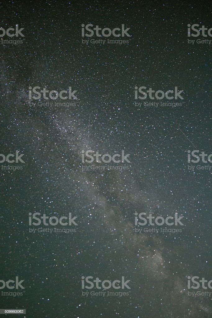 Milky Way Galaxy and shooting stars stock photo