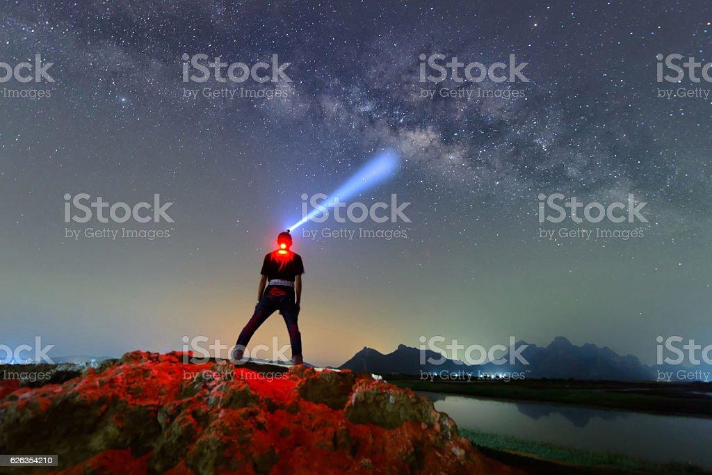 Milky way galaxy and stars in night stock photo